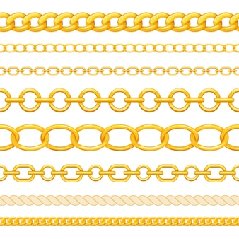 Set of different seamless gold chains isolated on white background