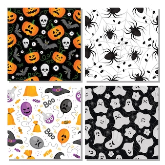 Set of different seamless patterns for halloween with pumpkins, bats, ghosts, spiders, balloons