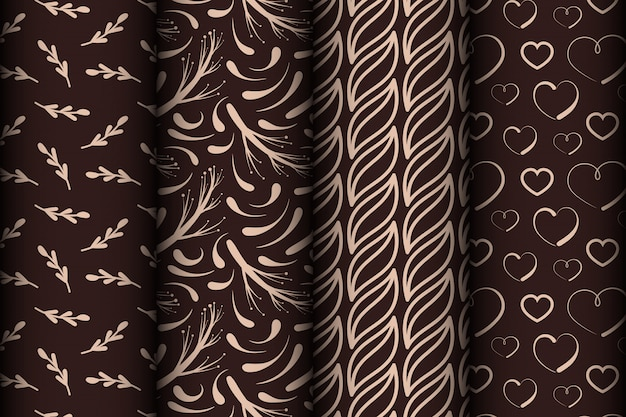 Set of different seamless patterns.