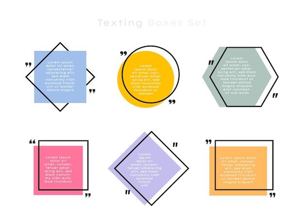 다른 모양의 기하학적 문자 메시지 상자를 설정합니다. 컬러 견적 상자