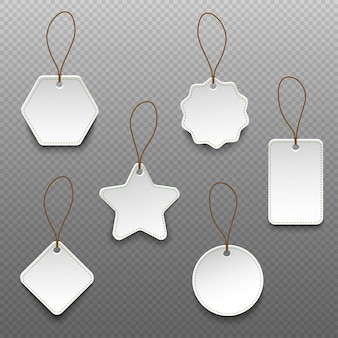 Set of different shape price tags isolated