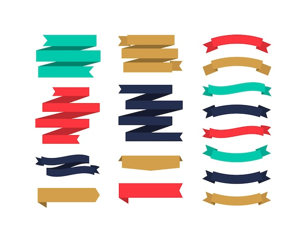Set of different shape ribbon banners colorful banners collection flat design tags labels and ribbons