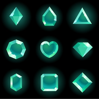 Set of different shapes gems.