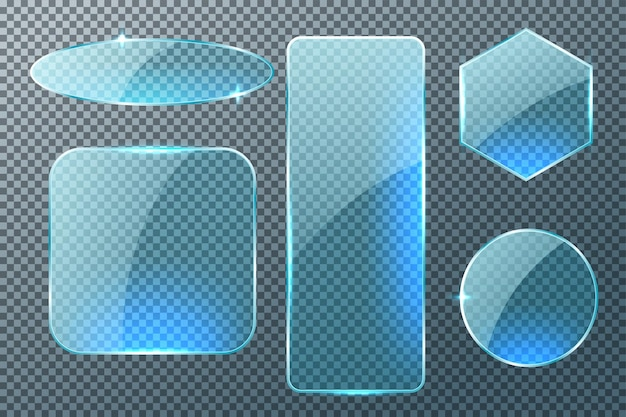Set of different shapes glass plates