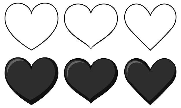 Set di diverse forme di cuore