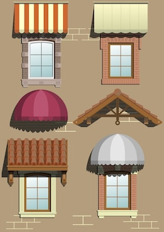 Set of different shelters for the facade in vector graphics.