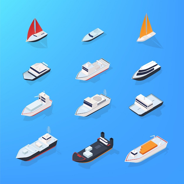 Set of different ship, motorboat, sailing, yacht, passenger, merchant, vessel. colorful isometric illustration collection.
