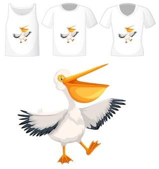 Set of different shirts with brown pelican cartoon character isolated on white background