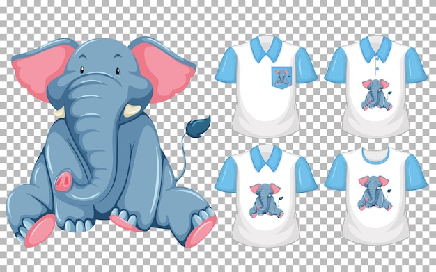 Set of different shirts with elephant cartoon character isolated