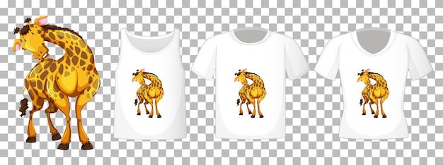Set of different shirts with giraffe cartoon character isolated on transparent background