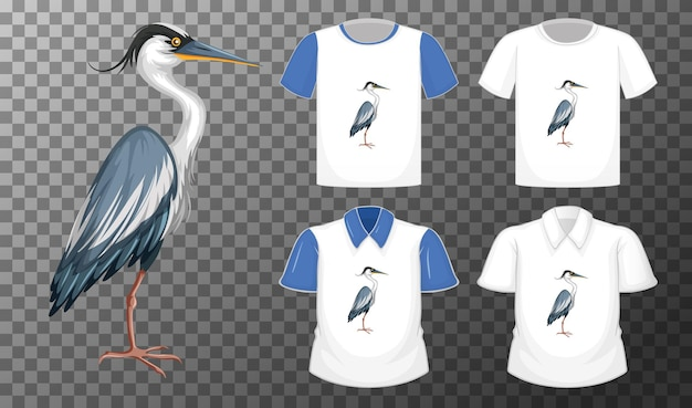 Set di camicie diverse con personaggio dei cartoni animati di grande airone azzurro isolato su sfondo trasparente