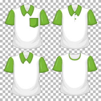 Set of different shirts with green sleeves isolated on transparent