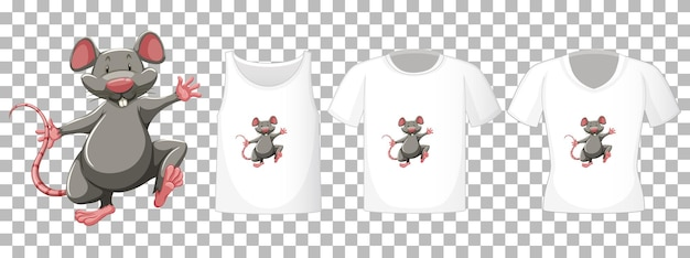 Set of different shirts with mouse cartoon character isolated on transparent background