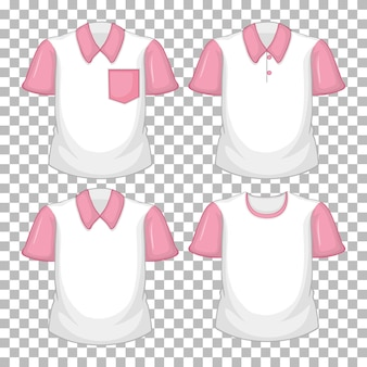 Set of different shirts with pink sleeves isolated