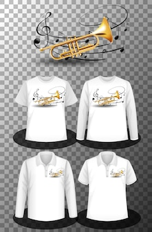 Set of different shirts with trumpet music notes