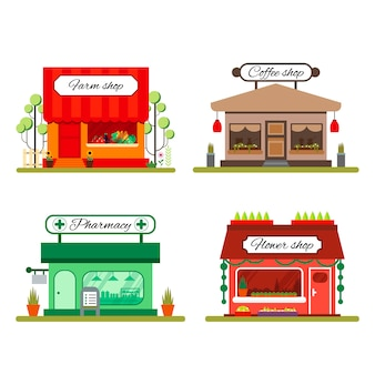 Set of different shops in flat style: farm product, coffee and flower store - illustration stock. infographic elements. market icon with showcases isolated on white background.