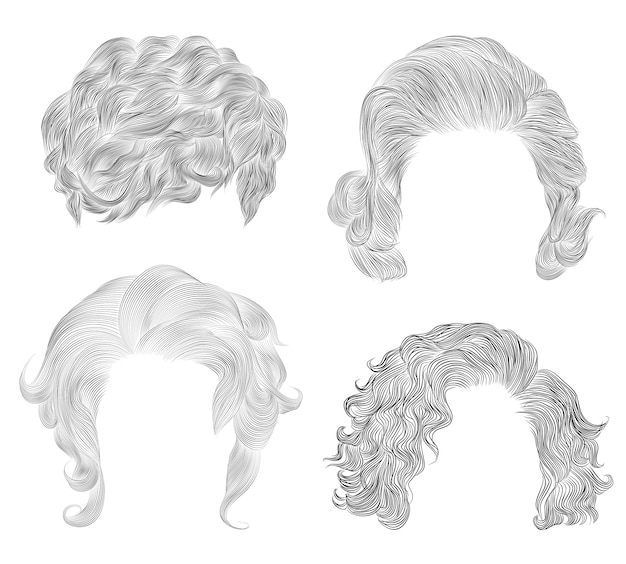 Set of  different short curly hairs . fashion beauty african style . fringe  pencil drawing sketch .