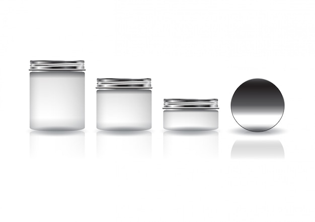 Set of different sizes white cosmetic round jar with silver lid for beauty or healthy product.