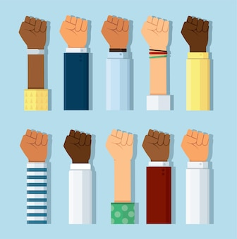 Set of different skin colors fist hands rise up
