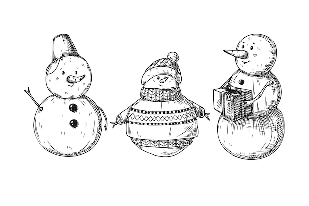 Set of different snowmen isolated  . sketch, hand drawn illustration