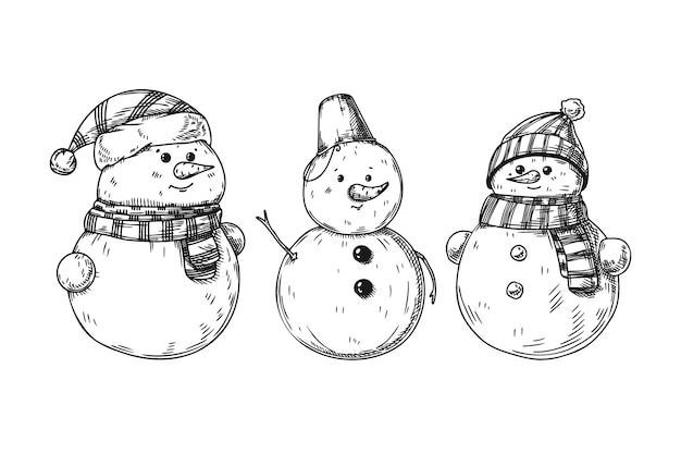 Set of different snowmen isolated on white background. sketch, hand drawn illustration
