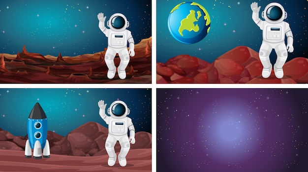Set of different space scene