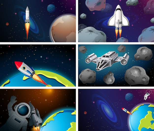 Set of different space scenes background
