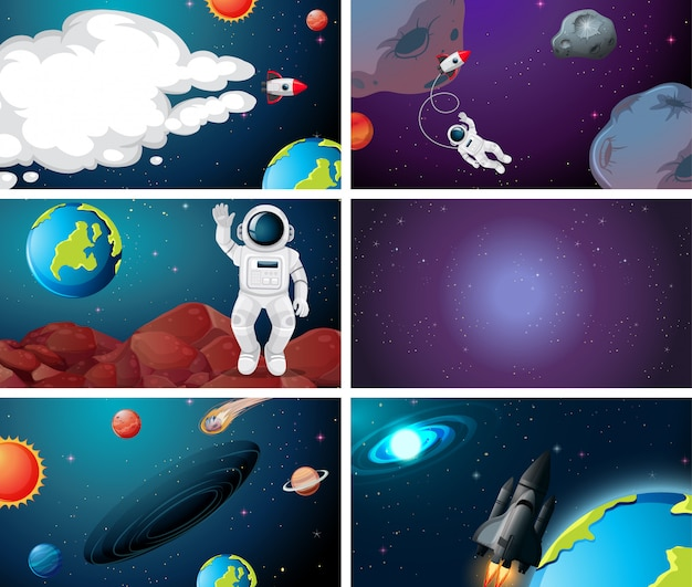 Set of different space scenes