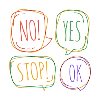 Set of different speech bubble in doodle style with text no, stop, ok, yes