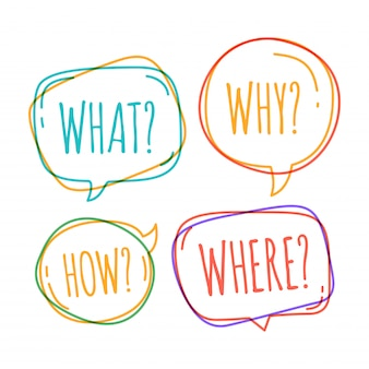 Set of different speech bubble in doodle style with text why what how where question inside