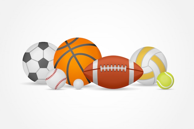 Set of different sports balls in a heap. equipment for football, basketball, baseball, volleyball, tennis and golf.