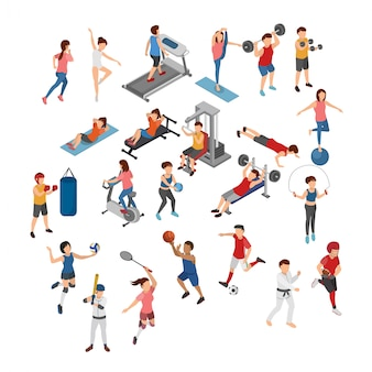 Set of different sports isometric illustration