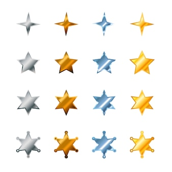 Set of different stars made from steel, bronze, silver and gold