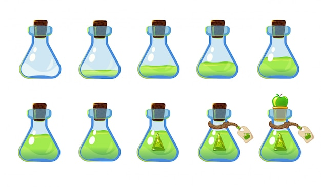 Set of different states of bottle with green elixir and apple. illustration for mobile game interface