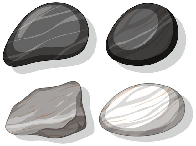 Set di diverse forme di pietre isolati su sfondo bianco