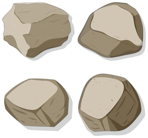 Set di diverse forme di pietre isolate su sfondo bianco