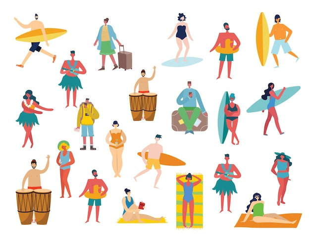 Set of different summer travel people and icons in the flat stye