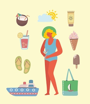 Set of different summer travel people and icons in flat style