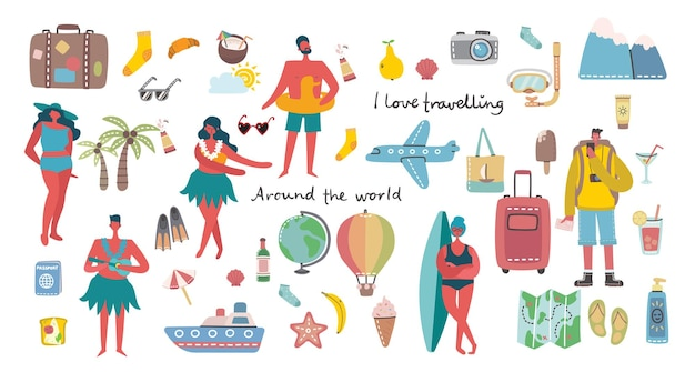 Set of different summer travel people and icons
