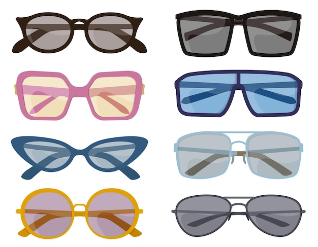 Set of different sunglasses. male and female accessories in cartoon style.