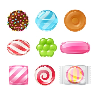 Set of different sweets. assorted candies.