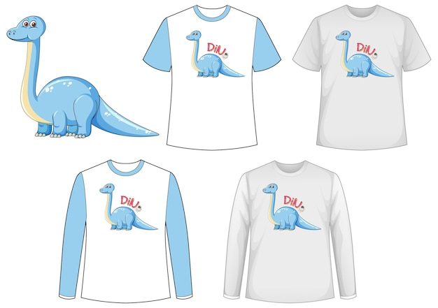 Set of different t-shirts with dinosaurs