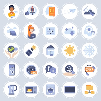 Set different technology icons collection flat isolated