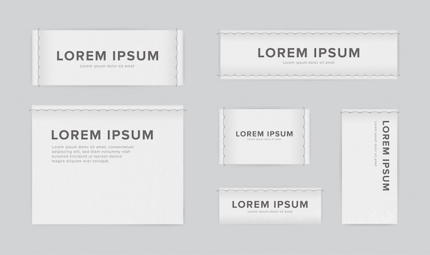 Set of different textile tags. collection of narrow, wide, large, small, vertical, horizontal labels for clothes. white sticker with place for text.