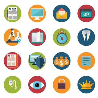 Set of different themed icons Free Vector