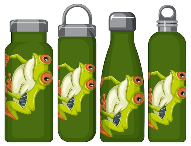 Set of different thermos bottles with frog pattern