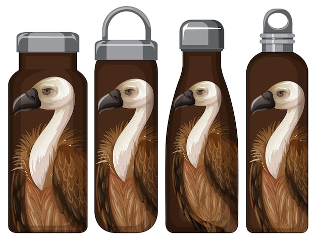 Set of different thermos bottles with vulture pattern