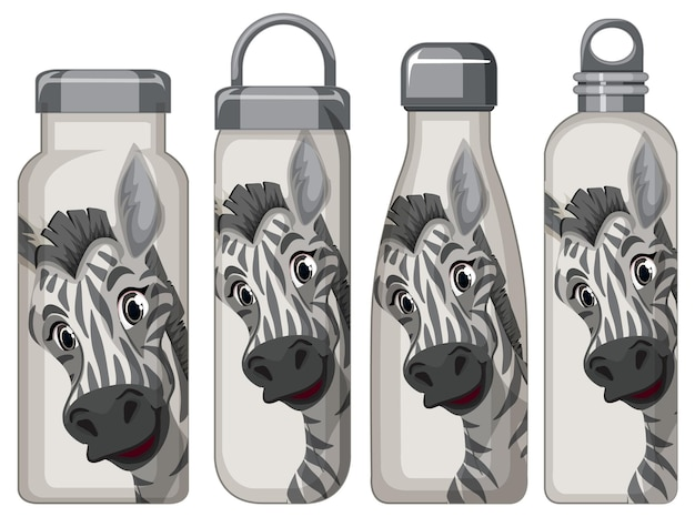 Set of different thermos bottles with zebra pattern