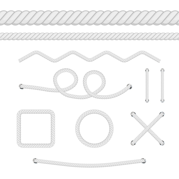 Set of different thickness ropes isolated on white.