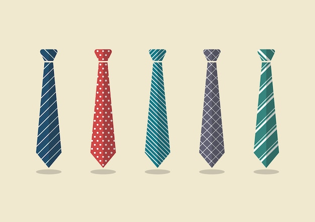 Set of different ties